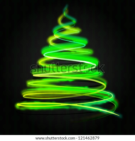 green yellow christmas tree flare concept on black
