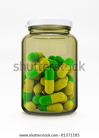 Green-yellow pills in closed glass medical bottle with plastic cap isolated on white background