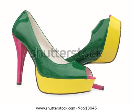 Green Yellow Pink High Heels Open Toe Pump Shoes Stock Photo
