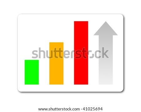 green yellow red statistic button on white background