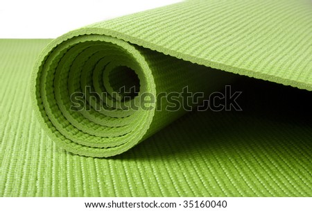 Green Yoga Mat on White