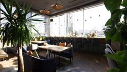Green zone with plants on terrace with big panoramic windows, panorama, copy space