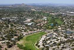 Greenbelt and wash with Golf Course in North Phoenix