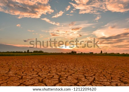 Greenhouse effect Greenhouse effect And the El Niño phenomenon. The weather changes and changes. In Southeast Asia Drought and earth quickly cracked.  #1212209620