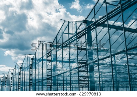 Greenhouses against the blue sky #625970813