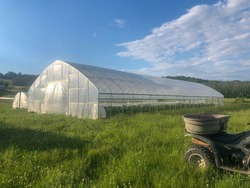 Greenhouses on organic vegetable farm in sunny grassy field off road vehicle in foreground big blue sky young plants visible in interior. eco-friendly natural living community mental health