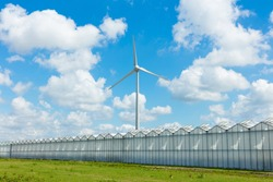 Greenhouses producing food with renewable energy from a wind turbine with a blue sky and bright white clouds in the background