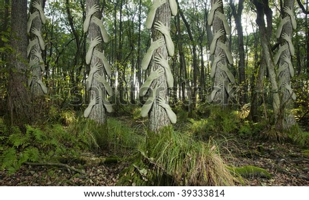 Greenish human arms that clings to tree trunks in a forsaken forest