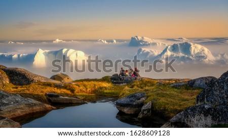 Greenland Ilulissat glaciers at fjord Disco Bay West Greenland Stok fotoğraf ©