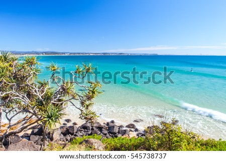Greenmount Beach on the Gold Coast on a clear day with blue sky