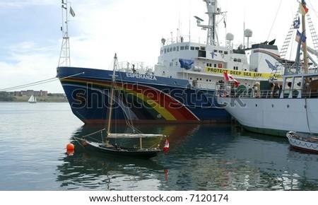 Greenpeace anti-whaling ship Esperanza in port in Halifax Nova Scotia Canada