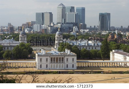 Greenwich, London with CBD in background - stock photo