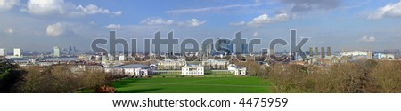 Greenwich panorama with Queen house and Canary Wharf