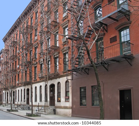 Greenwich Village apartment building with exterior fire escapes