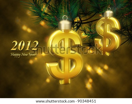 Greeting business card with the New Year. Golden Christmas decorations in the form of a dollar sign symbolizes success and financial prosperity in the new year.