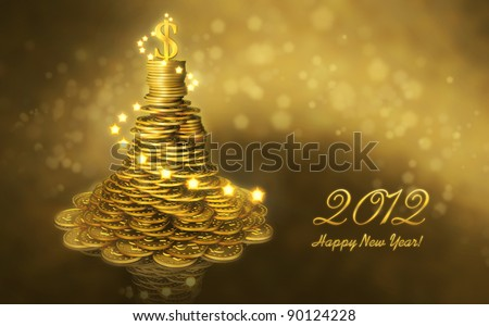 Greeting business card with the New Year 2012. Mound of gold coins as a Christmas tree decorated with lights and a dollar sign on the top
