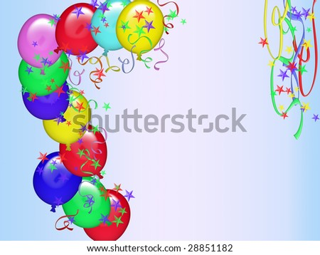 Greeting Card Birthday With Decorations And Space To Dedication Stock