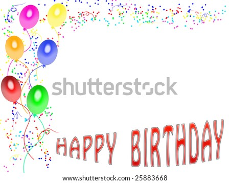 Greeting Card Birthday With Decorations And White Space To Dedication ...