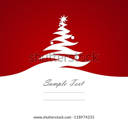 Greeting card Christmas tree abstract in white on a red background.