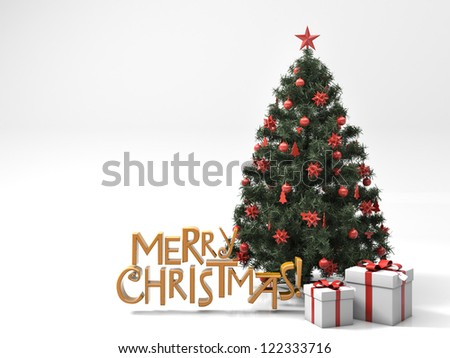 Greeting card: Christmas tree with gifts on light background - stock photo