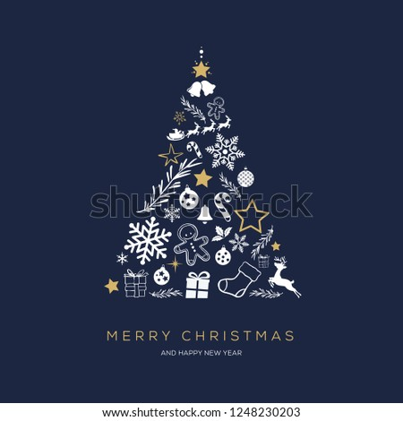 Greeting card concept with the words Merry Christmas. Abstract Christmas tree shape arranged with festive symbols