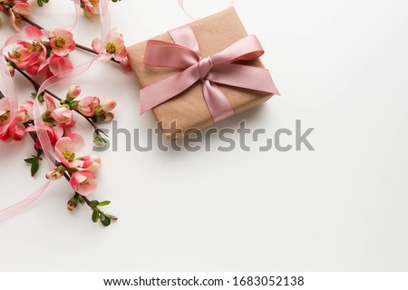 greeting card design. gift concept. gift box, flowers and an envelope on a white background. invitation. congratulation ストックフォト ©