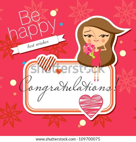 Greeting card design (raster version) - stock photo