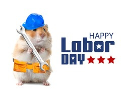 Greeting card for Happy Labor Day with funny hamster and builder's supplies