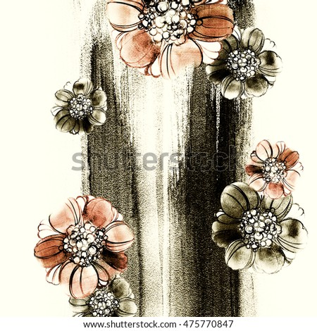 Greeting card for Mother's Day, wedding, birthday, Easter, Valentine's Day. Flowers watercolor background. Vintage romantic illustration.