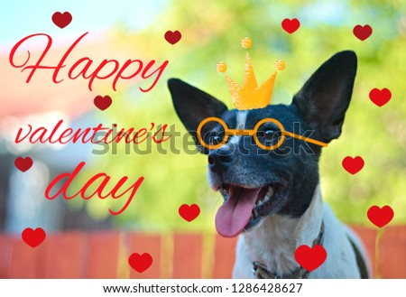 """Greeting card for Valentine's day, with a cute pug. Cartoon dog with crown and glasses and heart. illustration for a postcard or a poster. Text """"Happy Valentine's Day. #1286428627"""