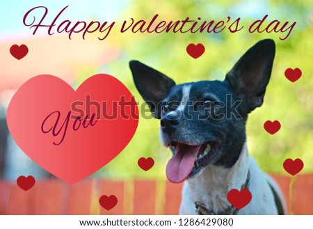"""Greeting card for Valentine's day, with a cute pug. Cartoon dog with crown and glasses and heart. illustration for a postcard or a poster. Text """"Happy Valentine's Day. #1286429080"""