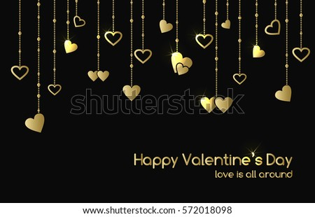 Greeting card for Valentine's Day with hanging gold shine heart shape garlands. Raster version