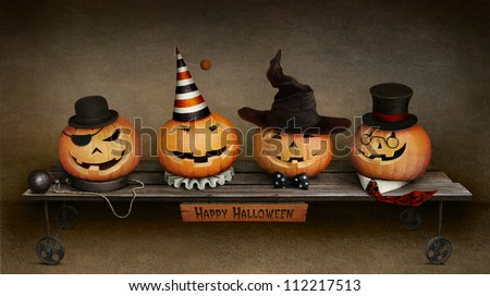Greeting card Happy Halloween, four friends on trolley.