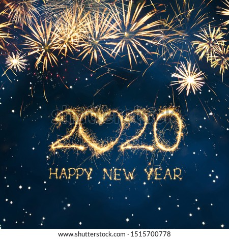 Greeting card Happy New Year 2020. Beautiful Square holiday web banner or billboard with Golden sparkling text Happy New Year 2020 written sparklers on festive blue background.