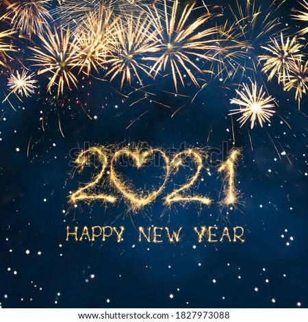 Greeting card Happy New Year 2021. Beautiful Square holiday web banner or billboard with Golden sparkling text Happy New Year 2021 written sparklers on festive blue background.