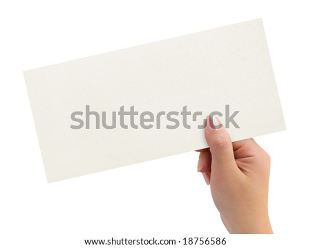 Greeting card in woman hand isolated on white background - stock photo