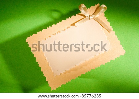 Greeting card isolated on the green background