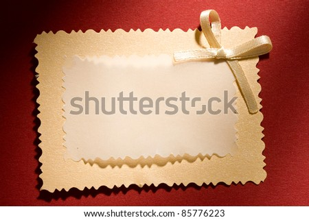 Greeting card isolated on the red background