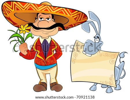 Greeting card. Mexican man with a flower and a donkey with a blank sheet of paper.