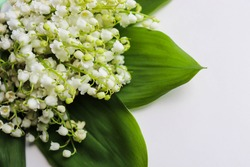 greeting card mockup. bouquet of lilies of the valley isolated on a white background. invitation card