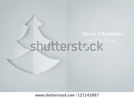 Greeting Card of christmas tree made of paper for your design