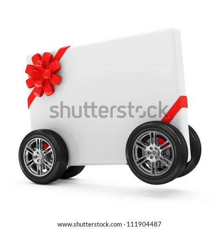 Greeting Card on Wheels isolated on white background
