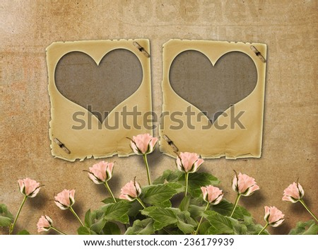 Greeting Card to St. Valentine\'s Day with roses and slides in the form of hearts