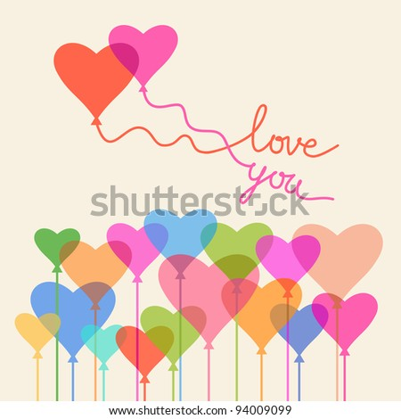 Greeting card Valentine's Day and wedding with balloons of hearts and lettering - Love You. Romantic abstract concept illustration with couple in love. For vector version see image id 93853240 #94009099