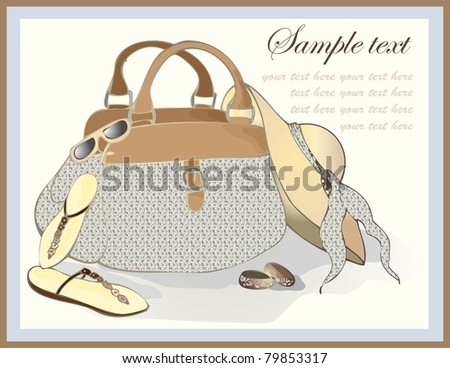 Greeting card with a beach bag, a hat, footwear, points.