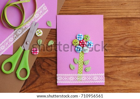 Free Photos Colorful Flower With Ribbon And Empty Card On Wooden