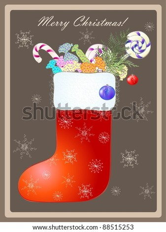 Greeting card with a Santa's boot and gifts.