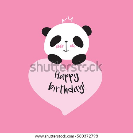 Greeting Card With Cute Panda And Heart Happy Birthday Doodles
