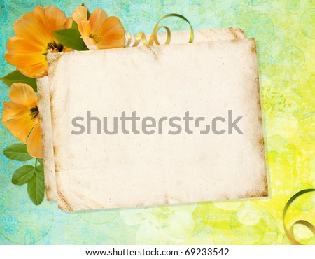 Greeting card with flowers and space for your own text