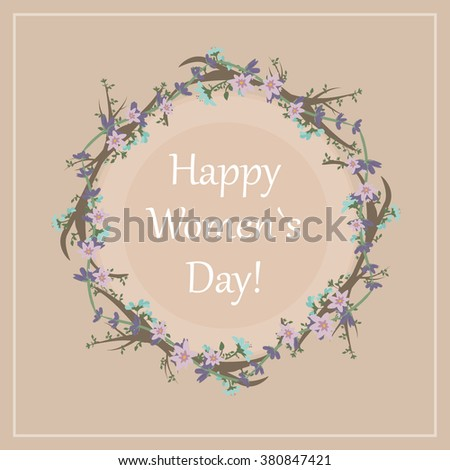 greeting card with flowers for  Women`s Day #380847421